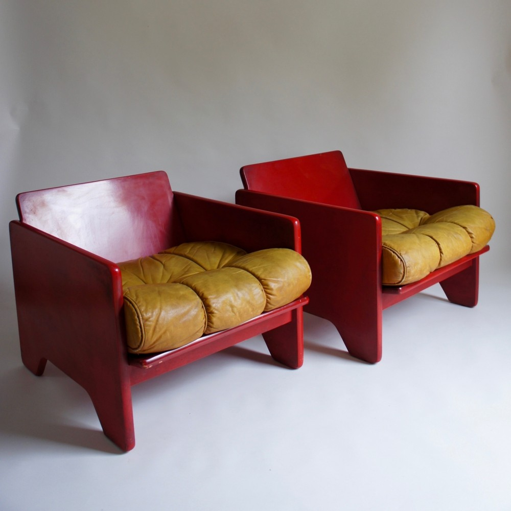 Pair of Poltronova Modernist Chairs, 1970s