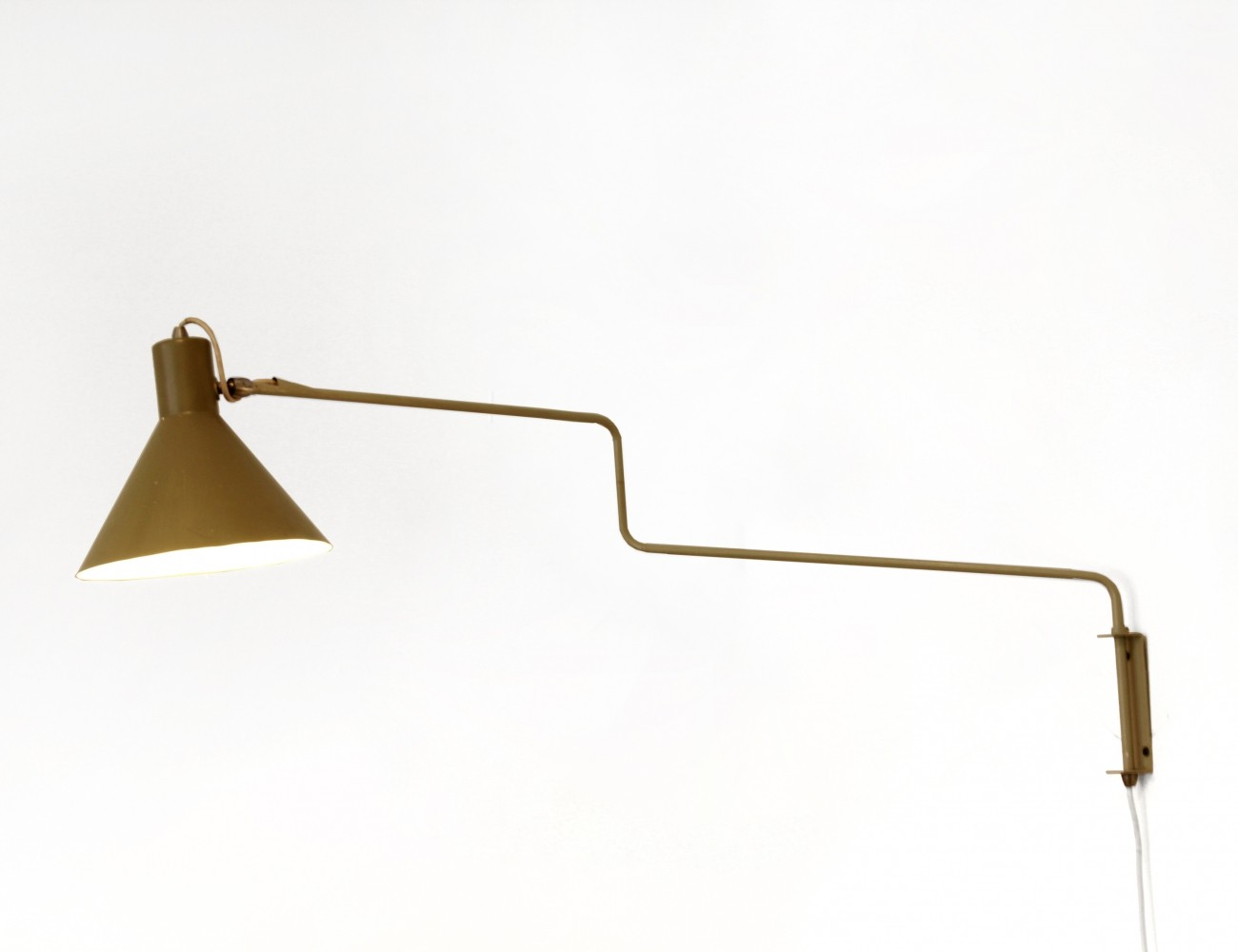 Green swing arm wall lamp model 7058 by J. Hoogervorst for Anvia