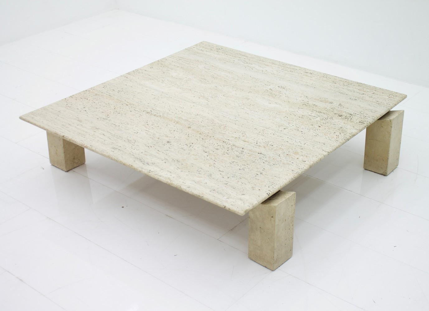 Large Travertine Coffee Table, France 1960s