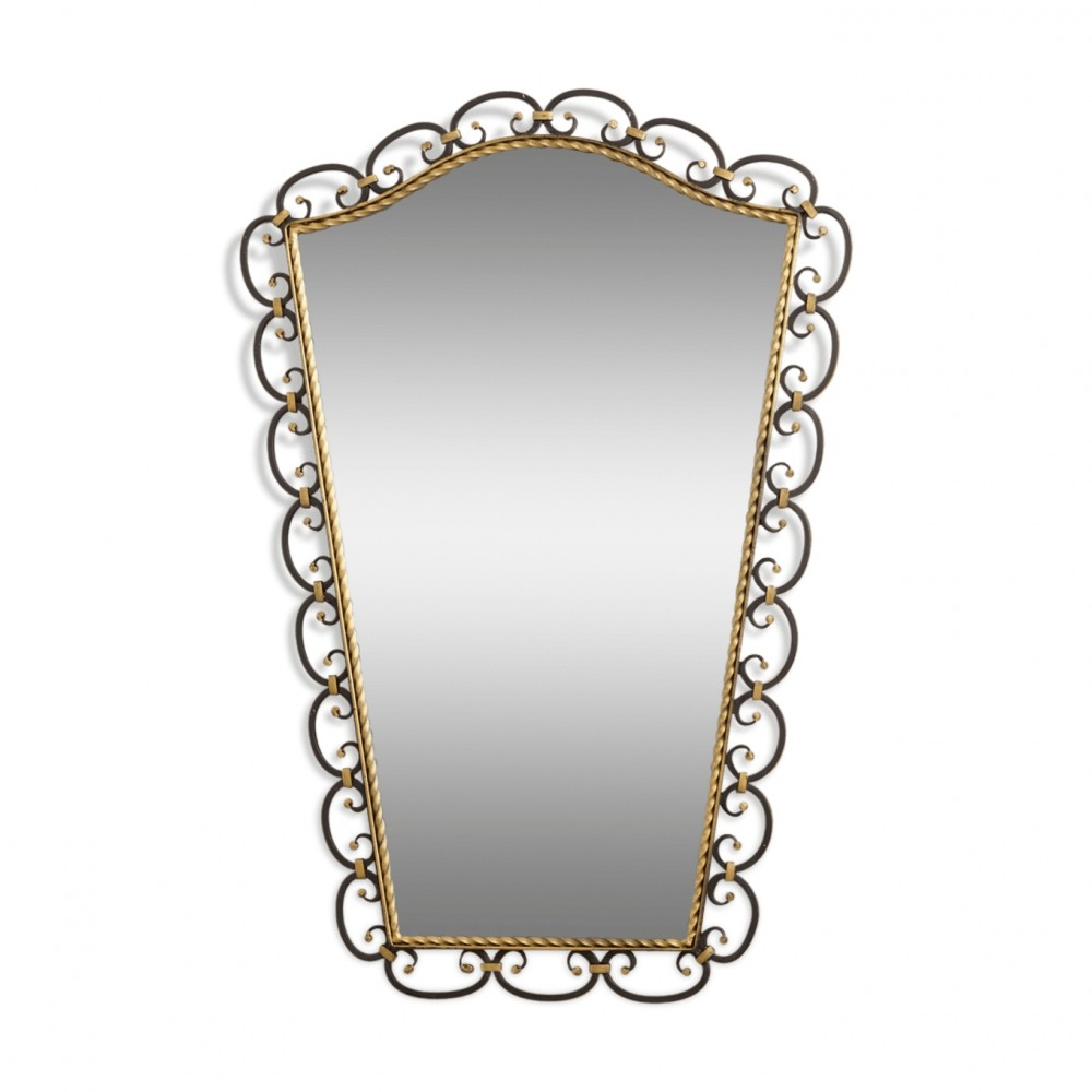 1950s Design Wrought Iron Mirror