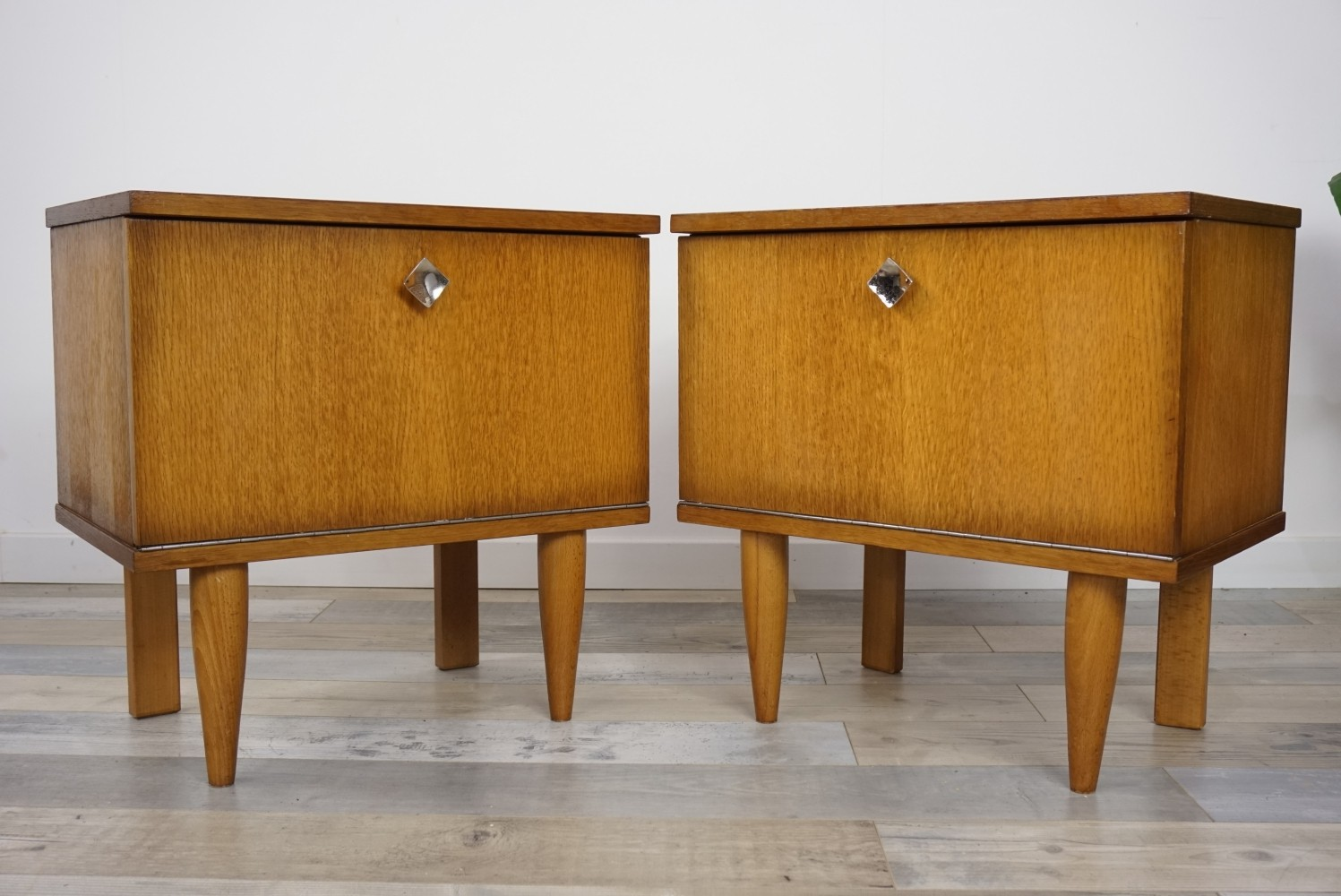 Oak Wooden Pair Of Bedside Tables, 1950s