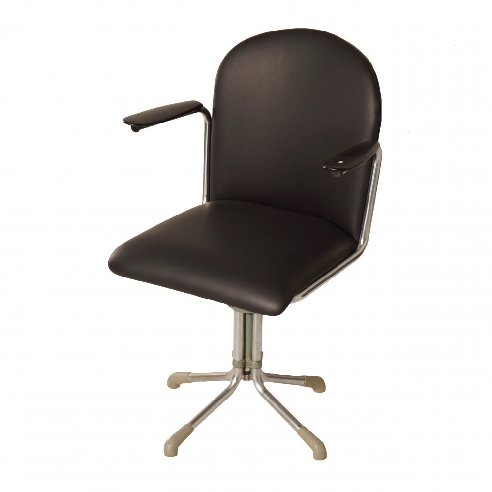 Groovy 356 Desk Chair In Black Leather By W H Gispen 1950S Ncnpc Chair Design For Home Ncnpcorg