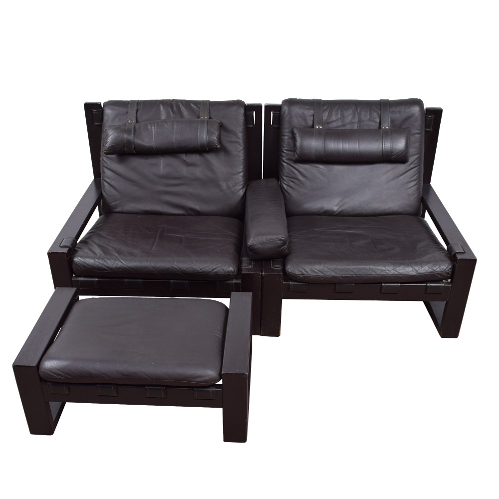 Pair of lounge chairs by Sonja Wasseur with hocker, 1970s