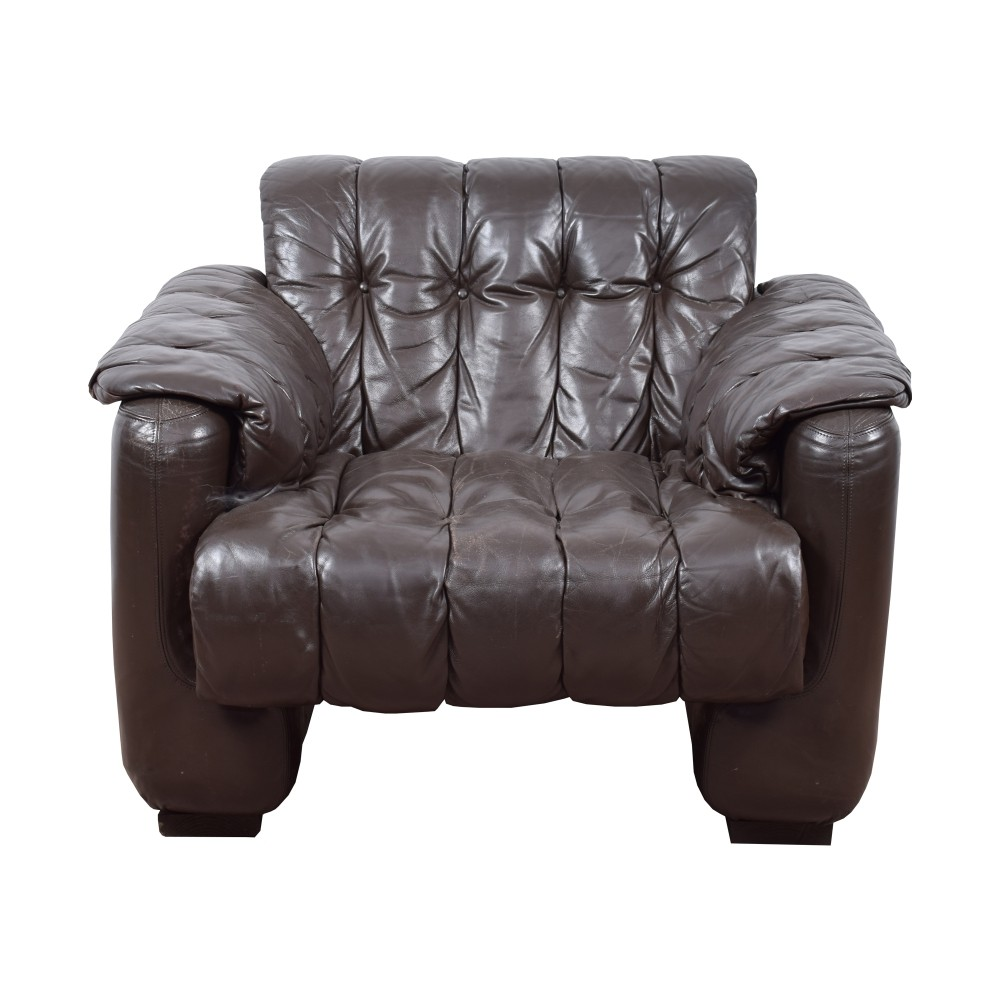 Brown leather easy chairs from the 70