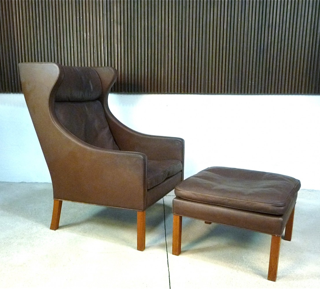 Model 2204 & 2202 Leather Wingback Chair & Ottoman by Børge Mogensen for Fredericia Stolefabrik, 1960s