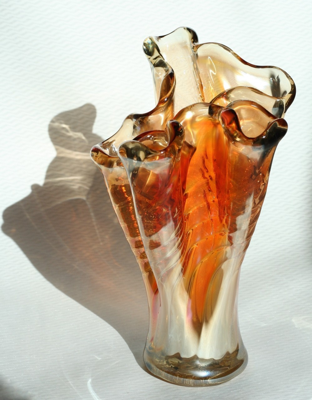 Large vintage glass vase, 1970s