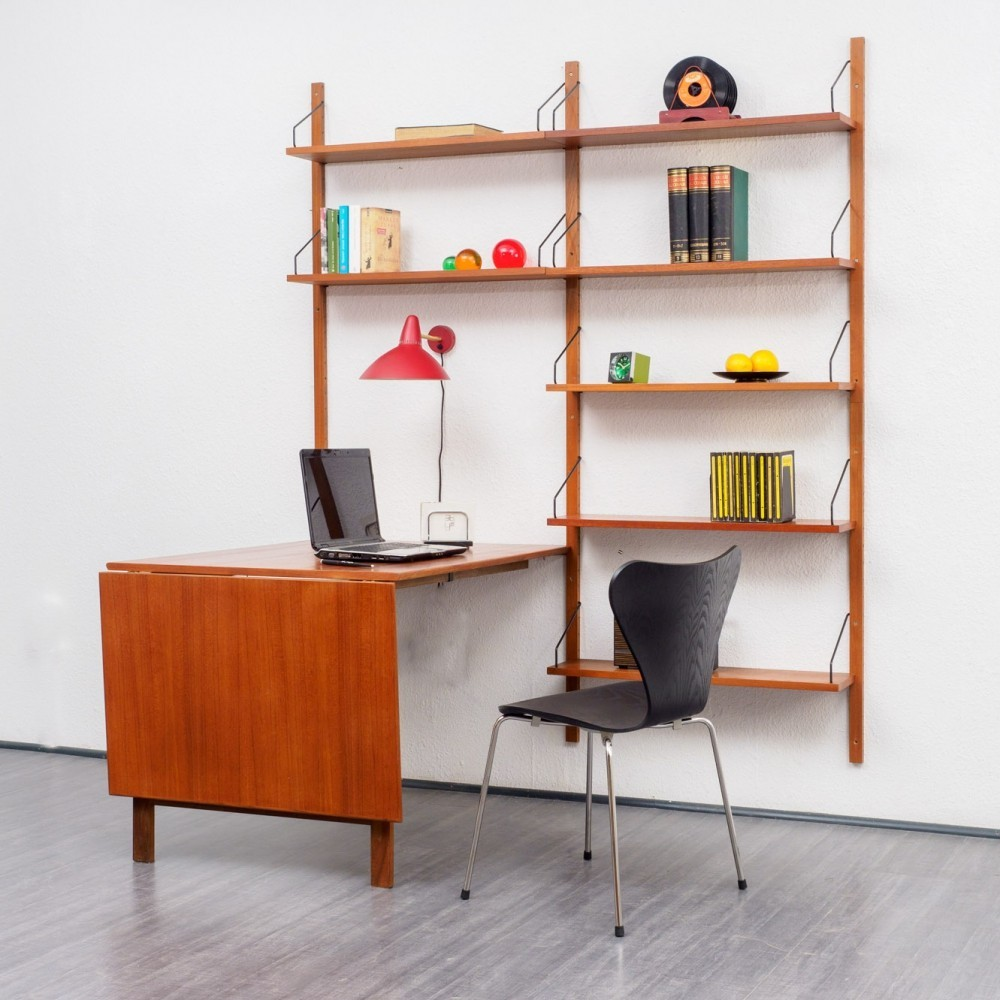Royal System Wall unit with table by Poul Cadovius