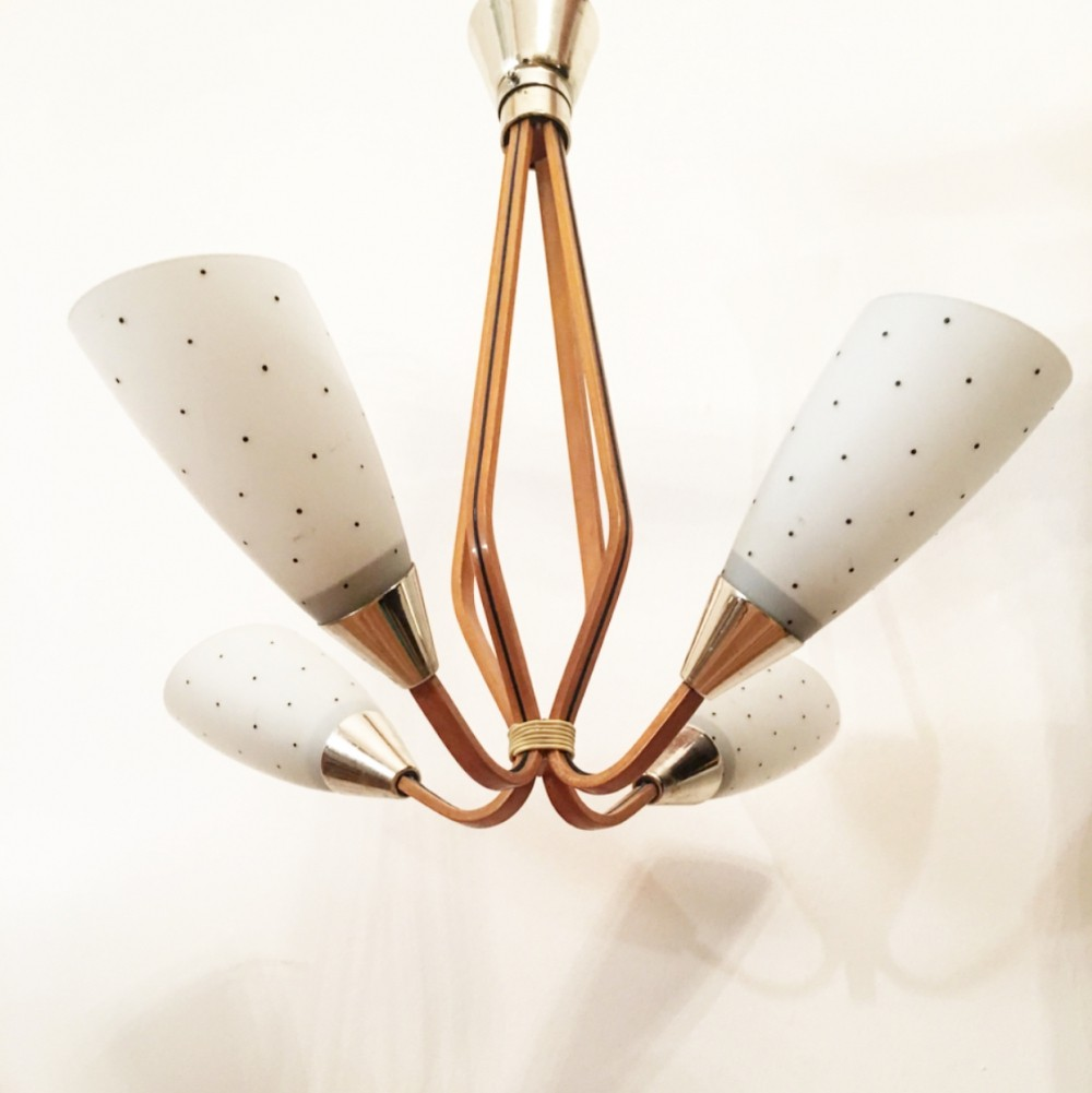 Pointed white glass chandelier made in Czechoslovakia, 1960s