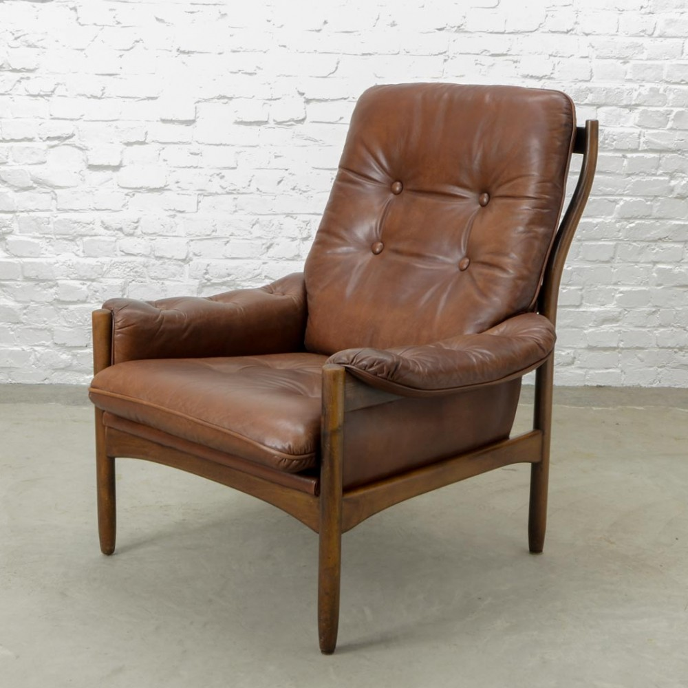 scandinavian design chestnut leather lounge chair by g. Black Bedroom Furniture Sets. Home Design Ideas