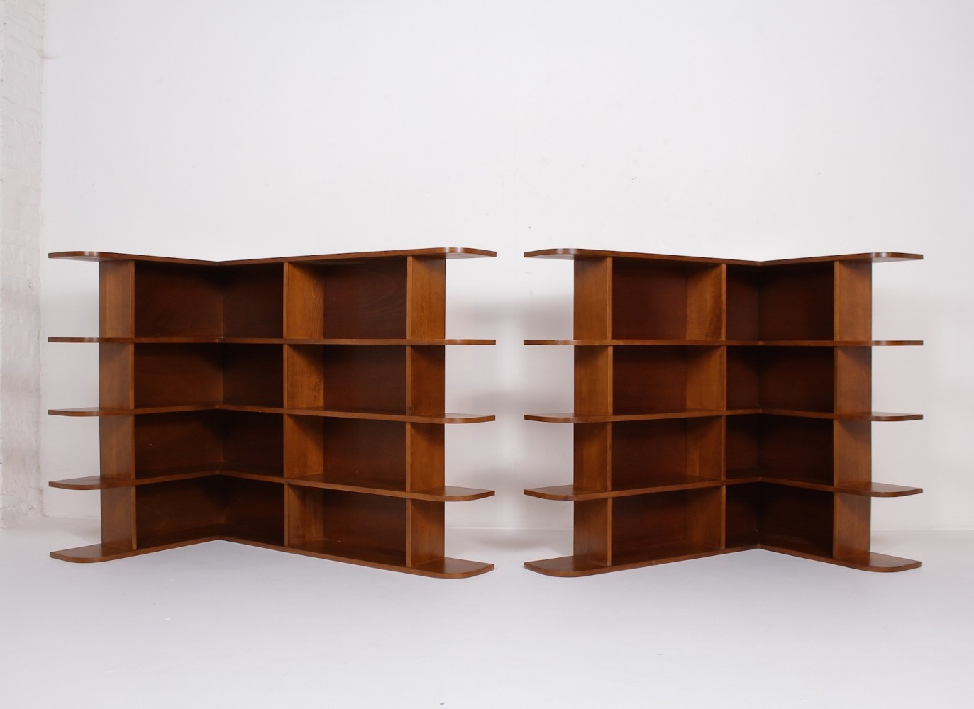 Pair of modernist French shelf units, 1940s