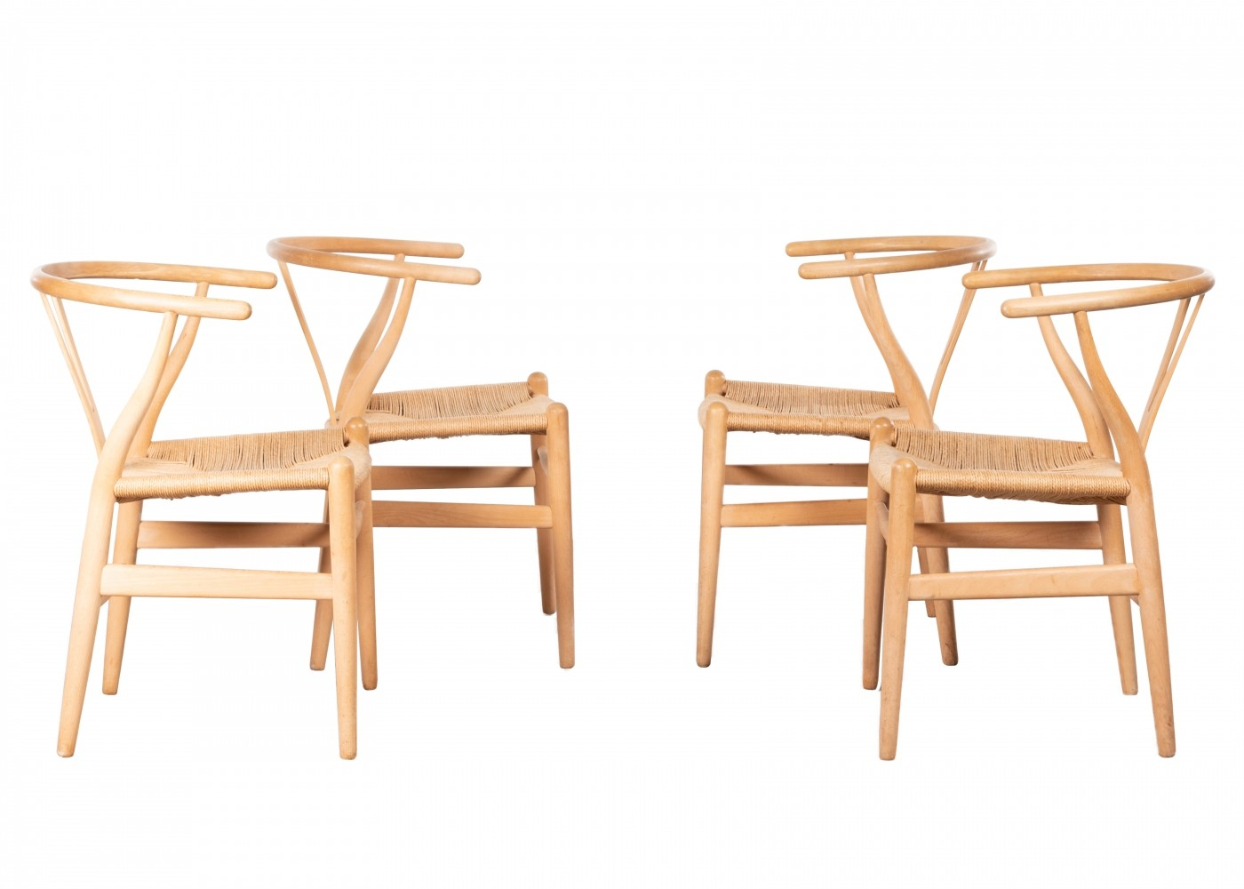 Set of 4 CH24 arm chairs by Hans Wegner for Carl Hansen & Son, 1980s