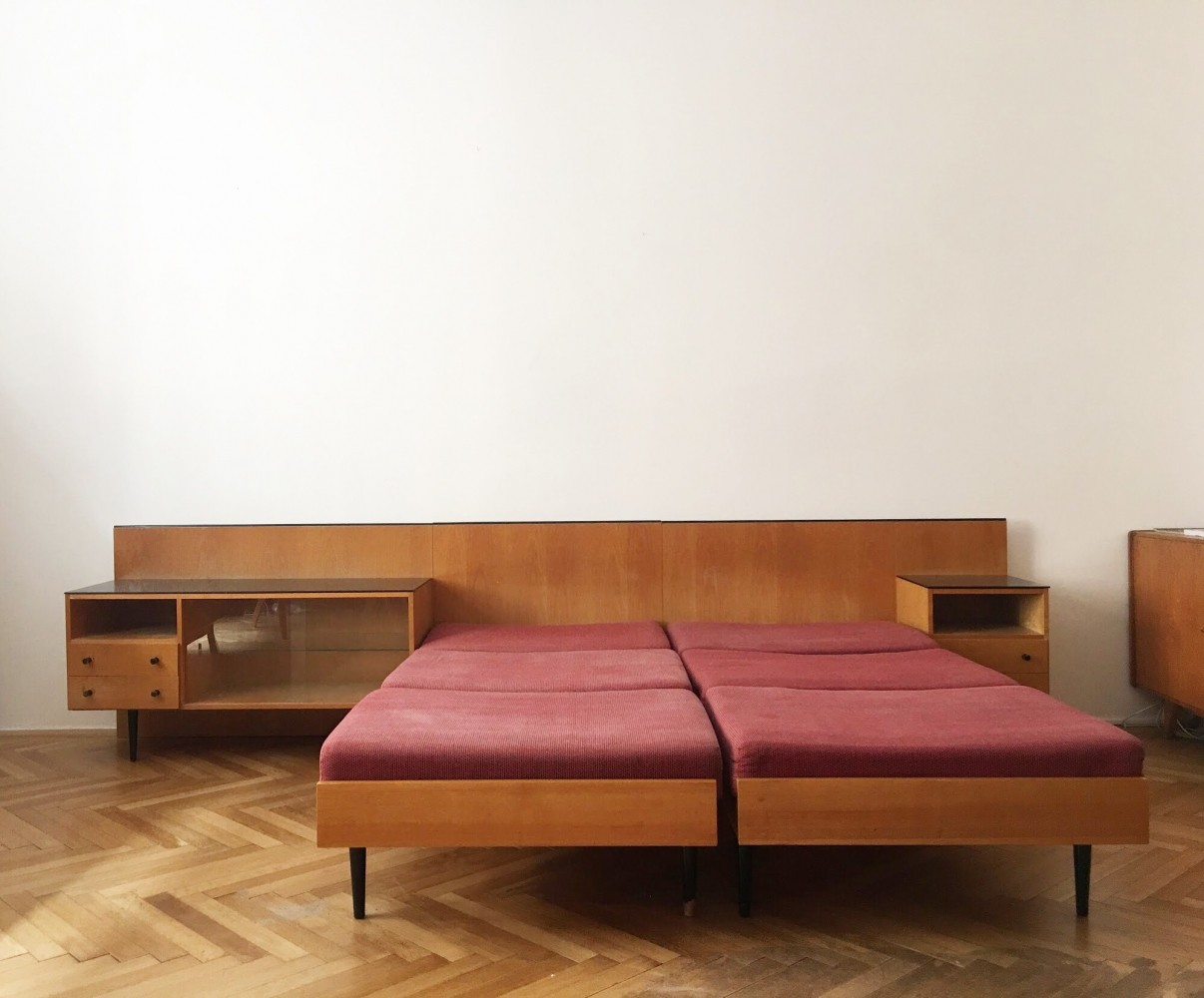 Double bed with night stands by Mojmir Pozar for UP Zavody, 1960s