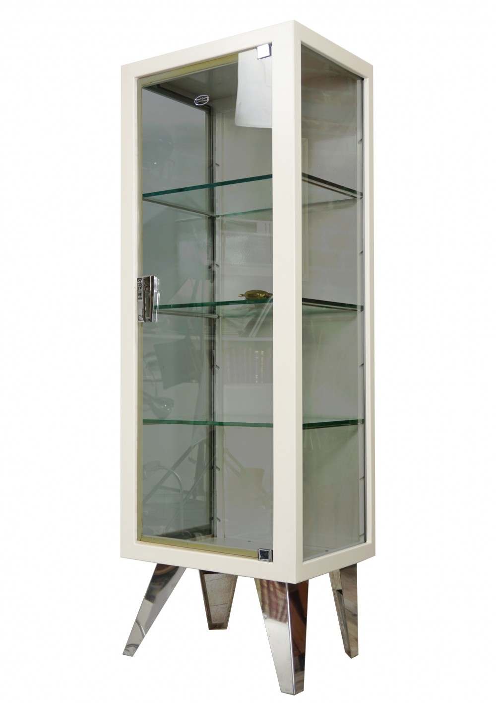 Industrial Style Metal & Glass Cabinet, 1950s