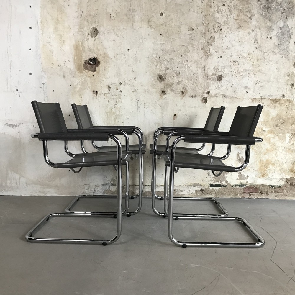 Set of 4 Cantilever Chairs by Mart Stam for Fasem Italy