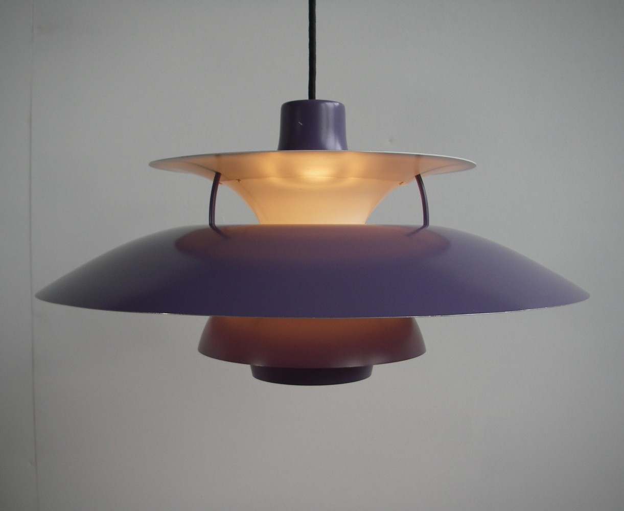2 x Purple PH 5 hanging lamp by Poul Henningsen for Louis Poulsen, 1960s