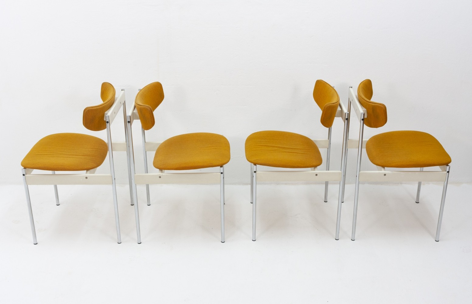 Set of 4 mustard yellow chairs by C. Denekamp for Thereca