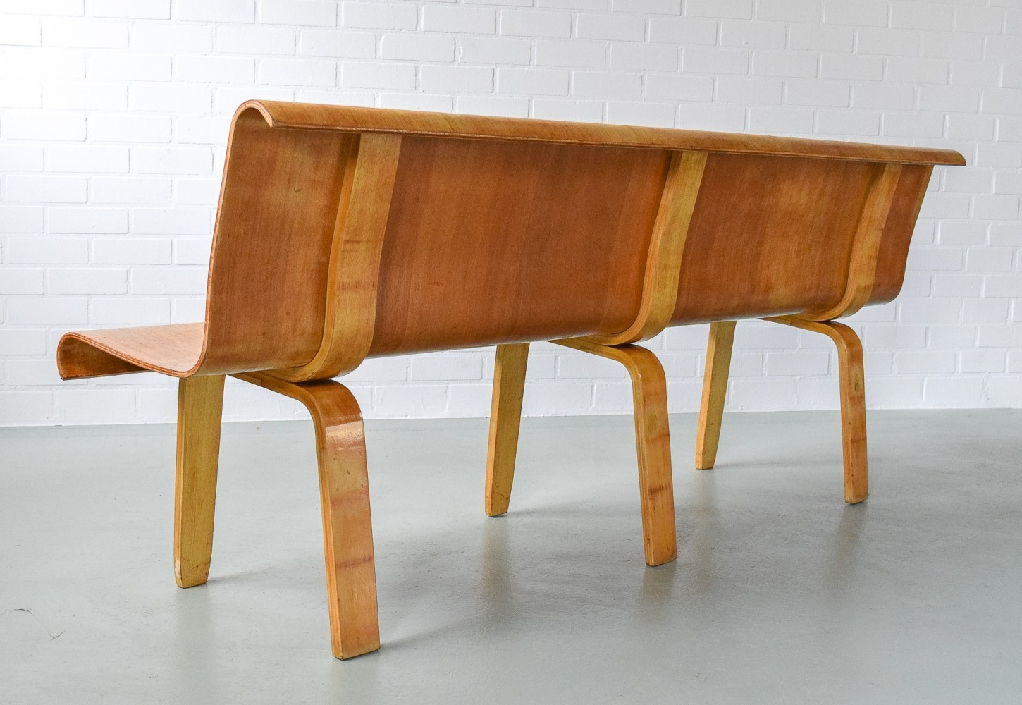 Rare & large plywood bench, 1950s