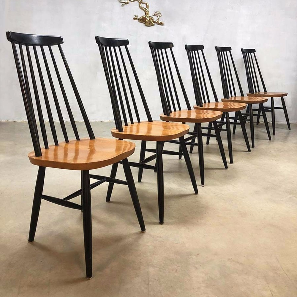 Set of 6 spindle back dining chairs, 1960s