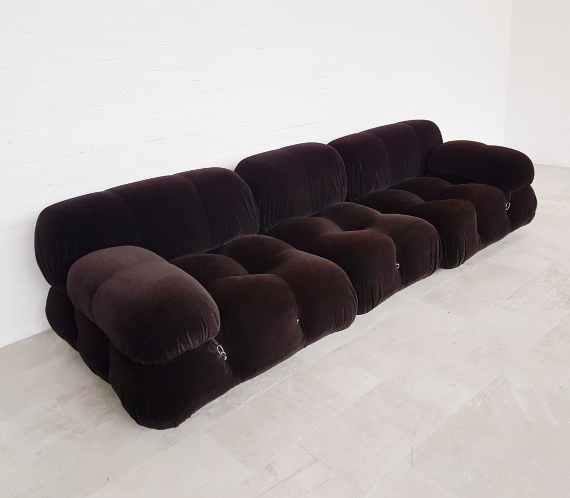Mario Bellini Camaleonda sofa in original dark purple/brown fabric, 1970s