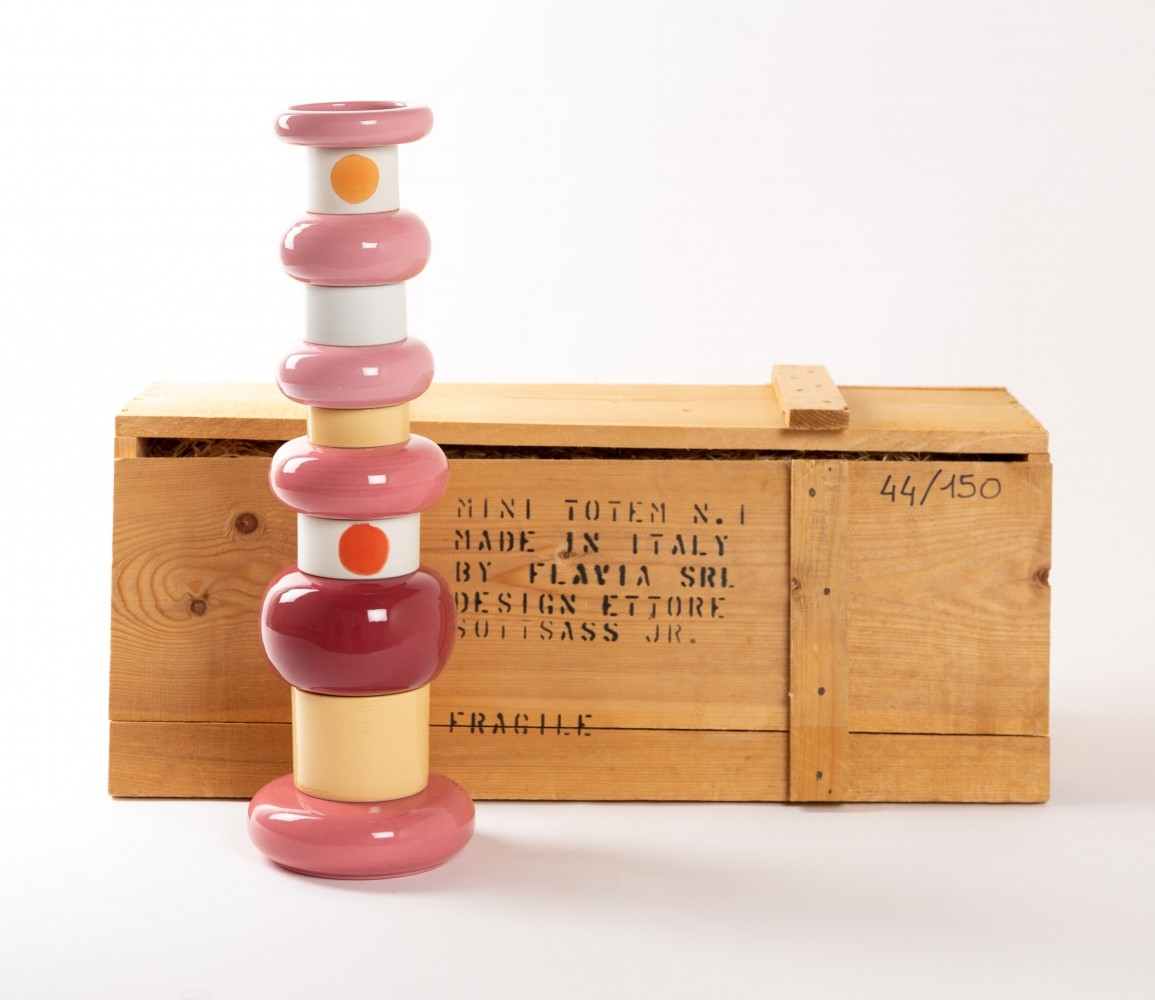 Ettore Sottsass mini totem in ceramic, limited edition 44/150