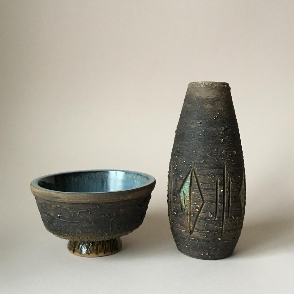 Mid-Century Swedish Rustic Pottery Set by Tilgmans Keramik