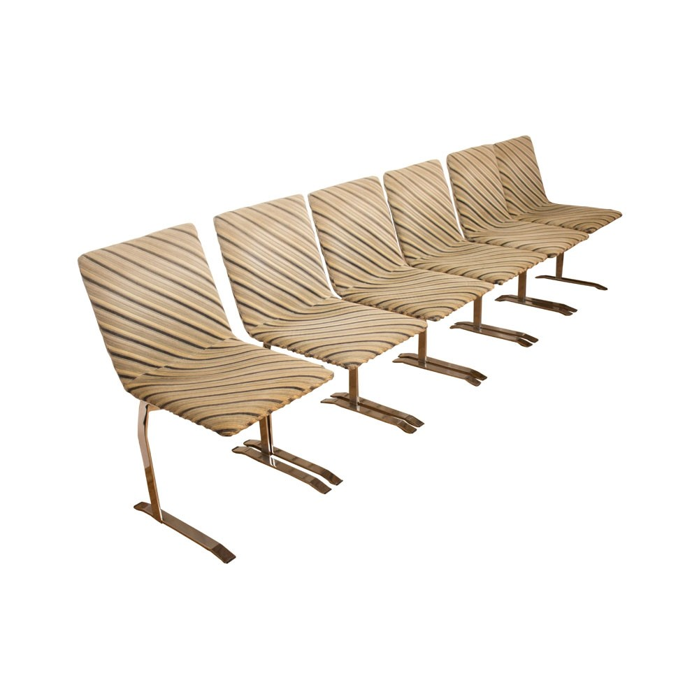 Set of 6 Dining chairs by Giovanni Offredi for Saporiti, Italy 1970s