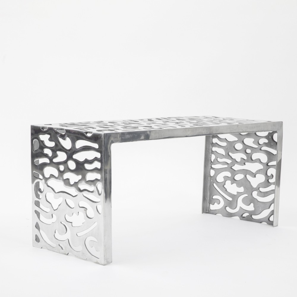 Perforated aluminum side table