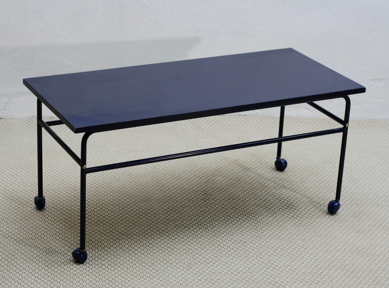 Mid-Century Enameled Blue Metal Coffee Table on Wheels, Sweden 1960s