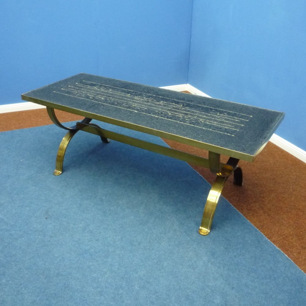 German Coffee Table with Mosaic & Brass by Berthold Müller-Oerlinghausen