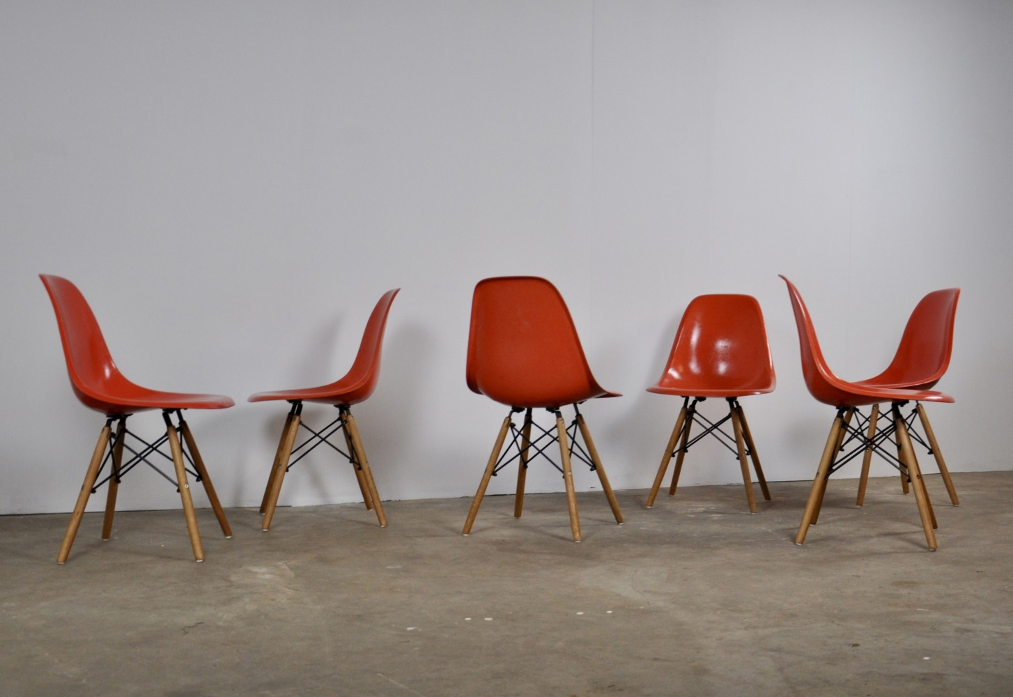 Set of 6 DSW Fiberglass Chairs by Charles & Ray Eames for Herman Miller