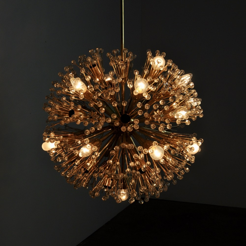 Vintage Brass & Glass Chandelier by Emil Stejnar for Rupert Nikoll