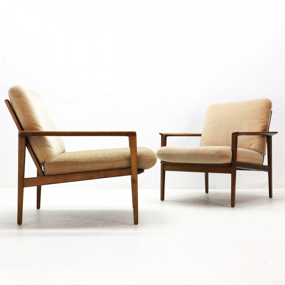 2 x Walnut Easy Chair with Beige Upholstery