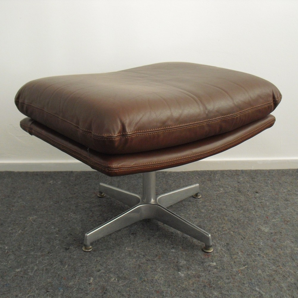 Leather Swivel Ottoman / Foot Stool, 1970