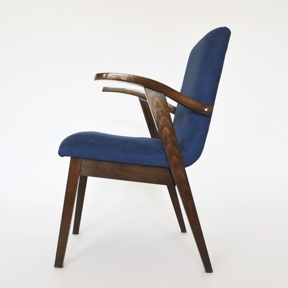 Polish Royal Blue Velvet Armchair by M. Puchała, 1950s