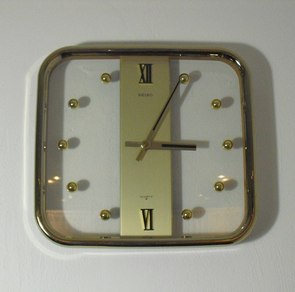 Vintage Square Seiko Quartz Wall Clock, 1970