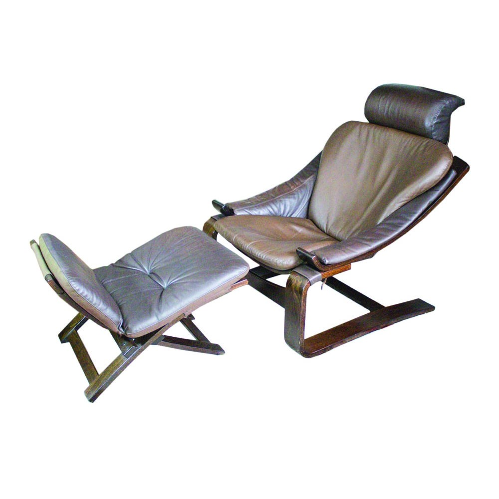 Kroken leather armchair with footstool by Ake Fribytter for Nelo Möbel, 1970s