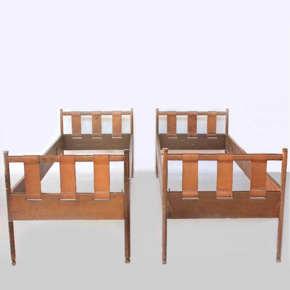 Italian Midcentury twin beds in wood & leather designed by Marco Comolli