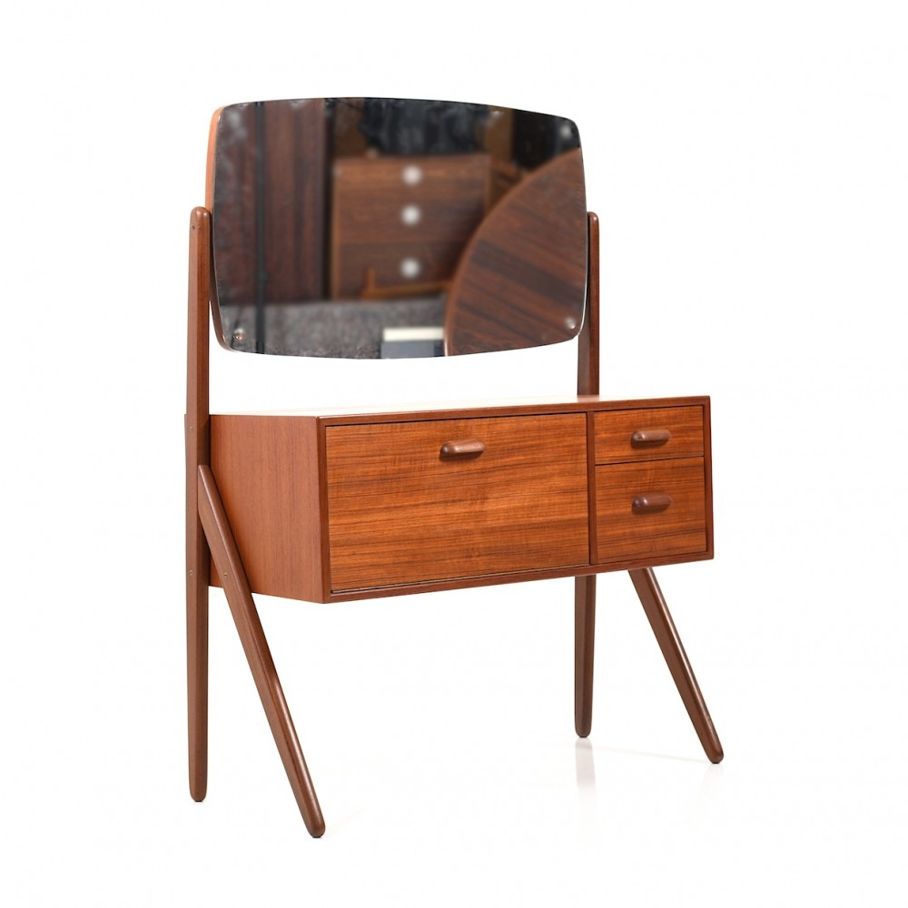1950s Danish Teak Wooden Make-Up Dresser