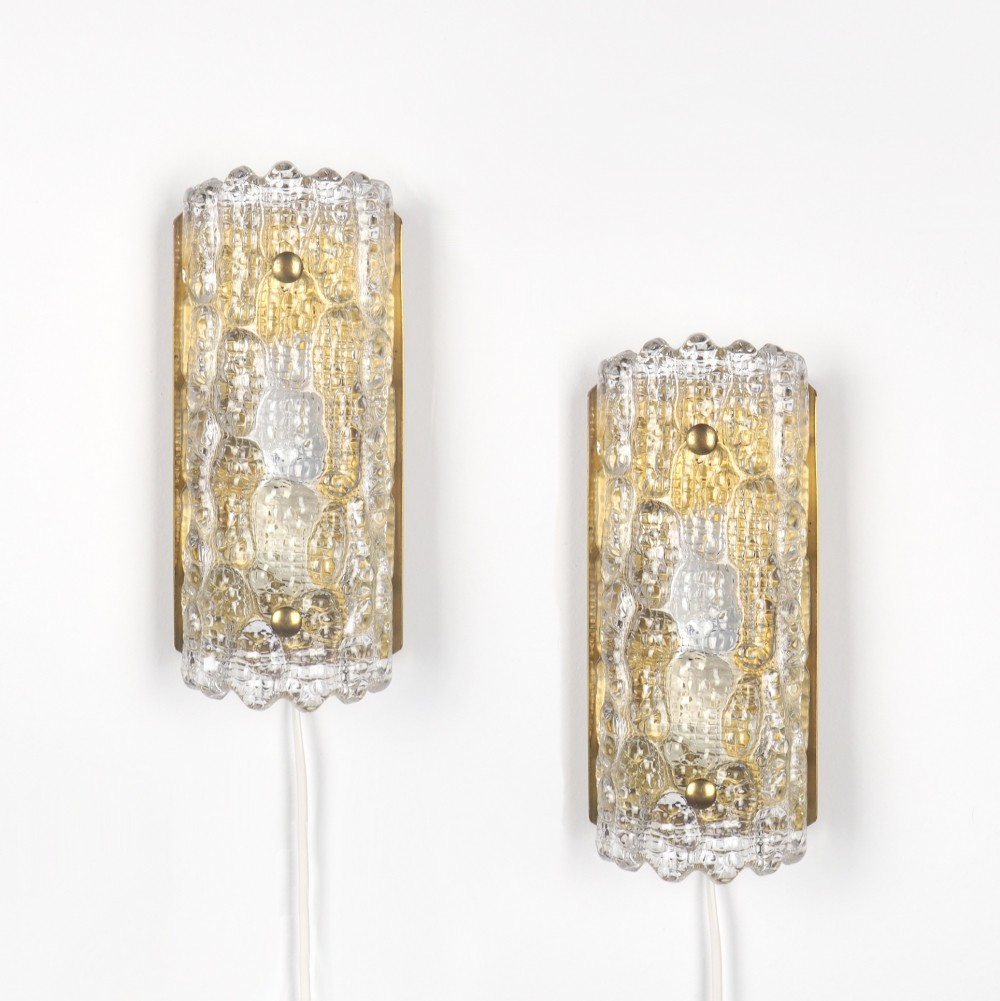 2 Swedish glass wall lights by Carl Fagerlund for Orrefors, 1960