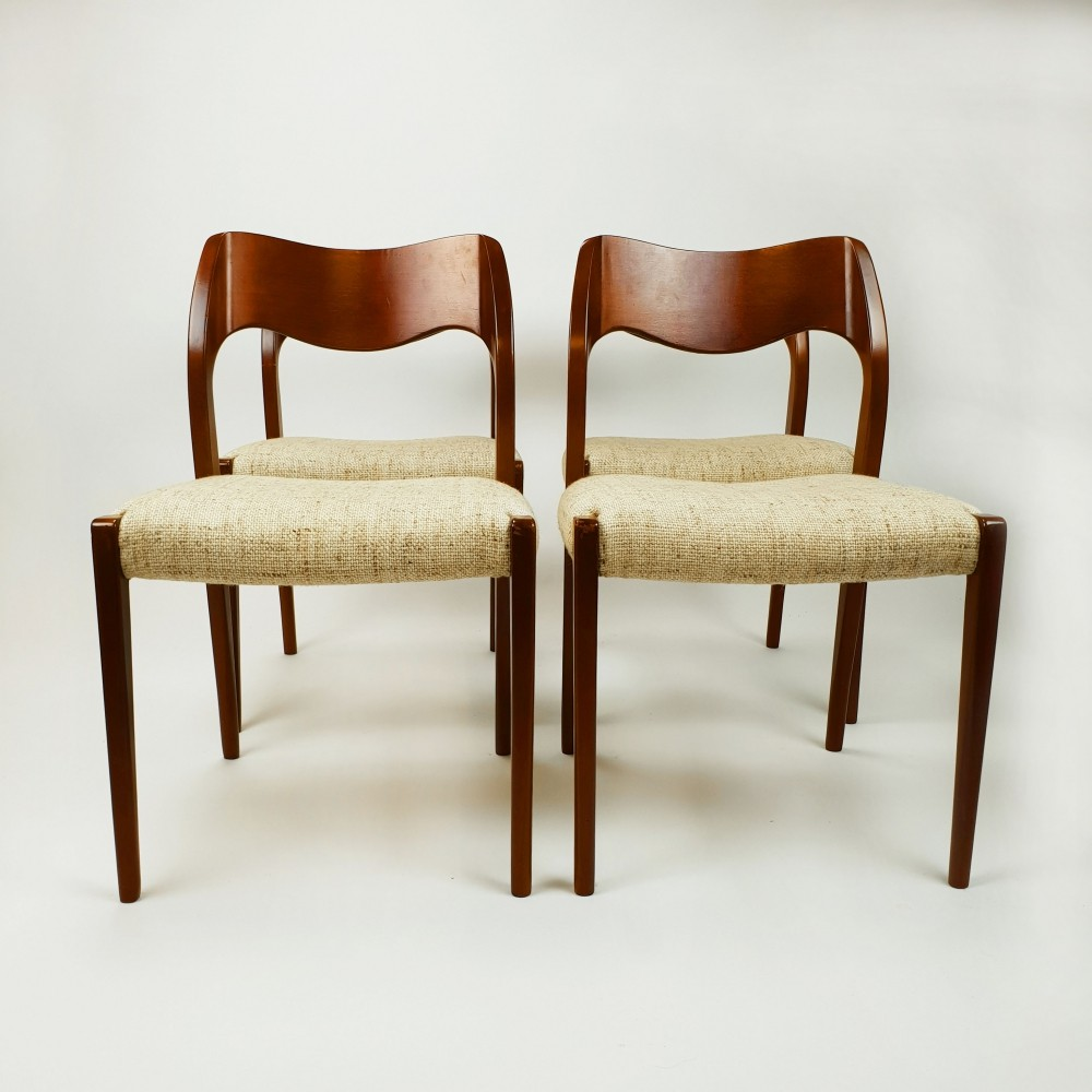Niels Otto Moller for JL Moller Model 71 dining chairs, 1960s