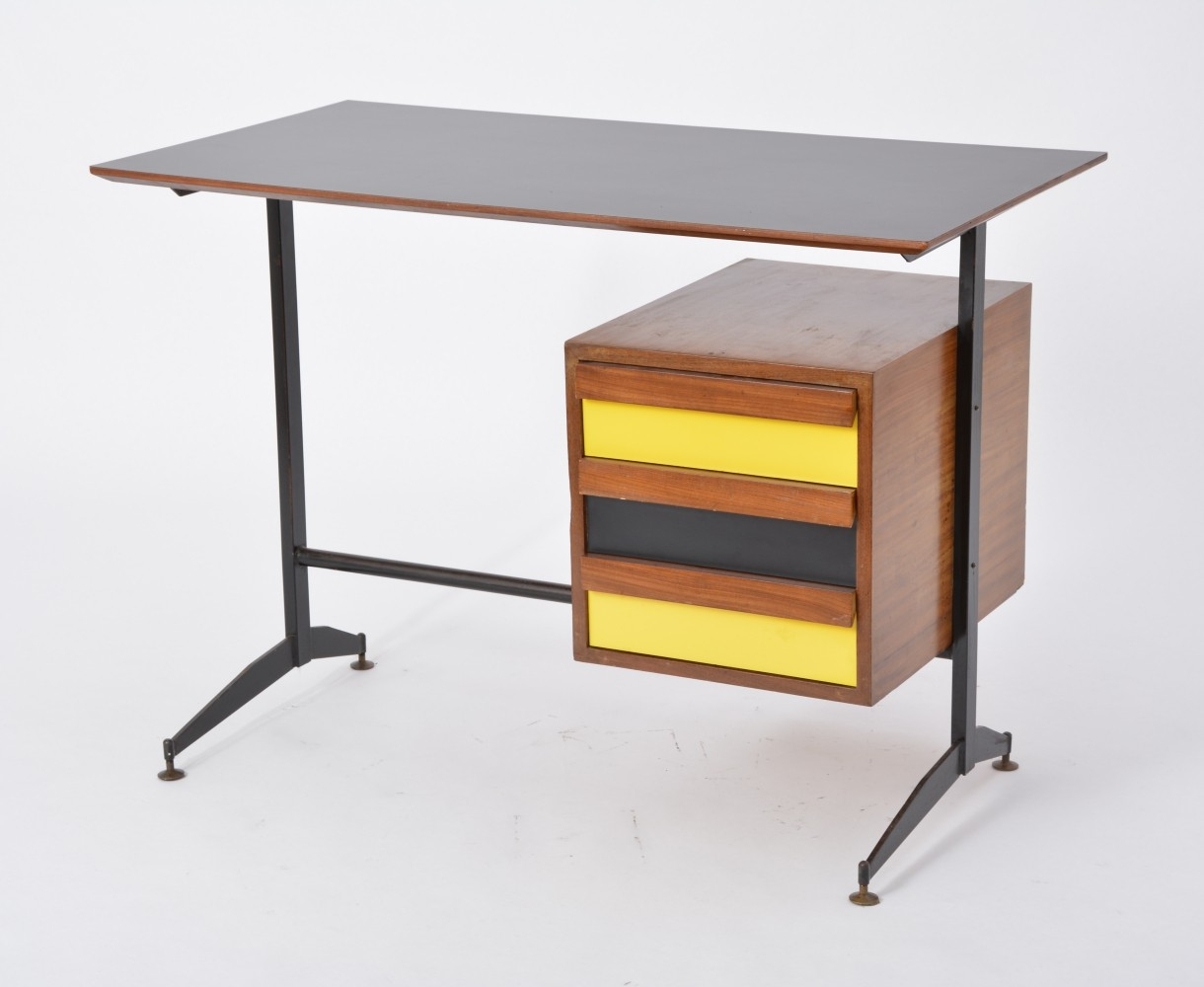 Image of: Small Italian Mid Century Desk With Black Yellow Drawers 88672