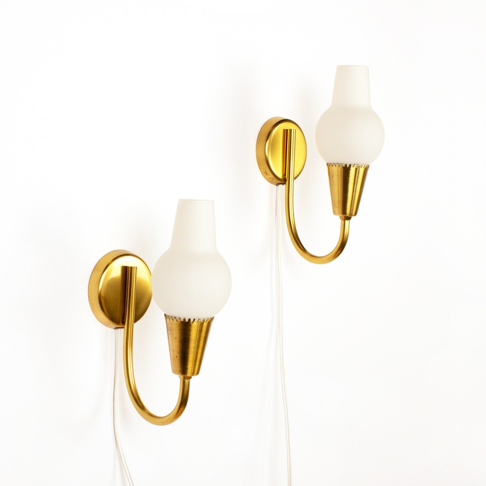 Vintage set of two Danish brass & opal glass wall lamps, 1960