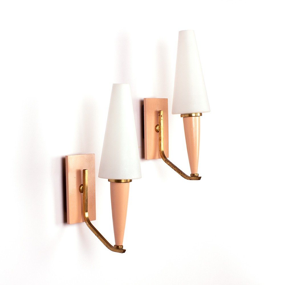 Vintage nude pink wall lamps with opaline glass & brass details