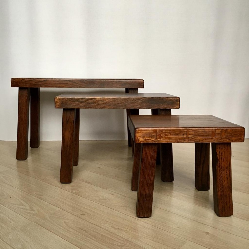 Vintage Dutch Solid Oak Nesting Tables or Benches, 1970s