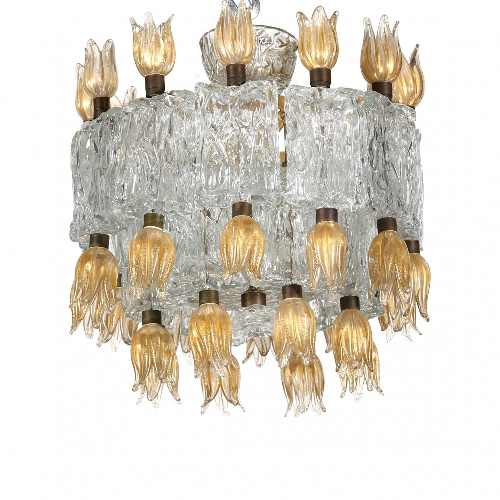 Barovier & Toso chandelier made for the Hotel Gallia Milano, 1950