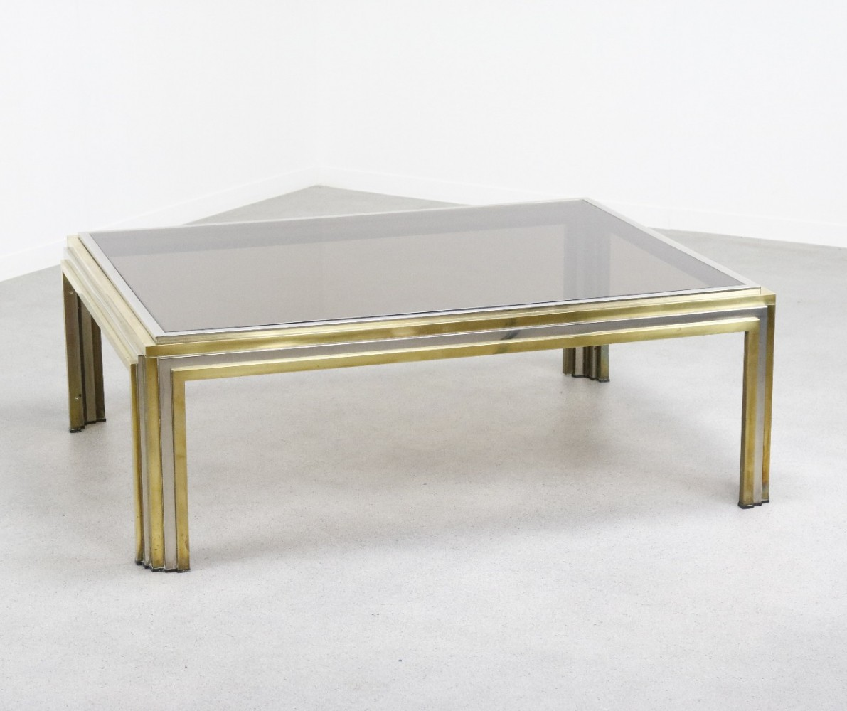 Large sculptural coffee table in brass & chrome by Romeo Rega, 1970s