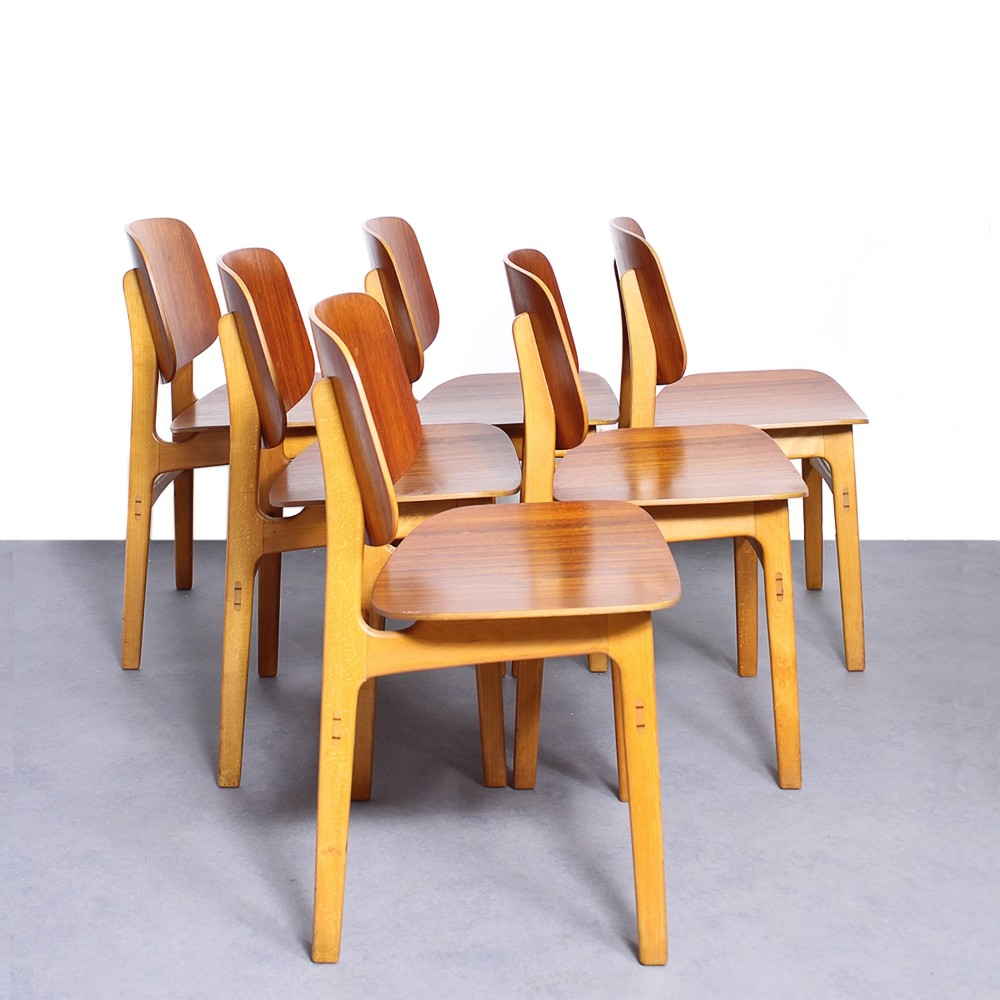 Vintage set of 6 Borge Mogensen 155 dining chairs