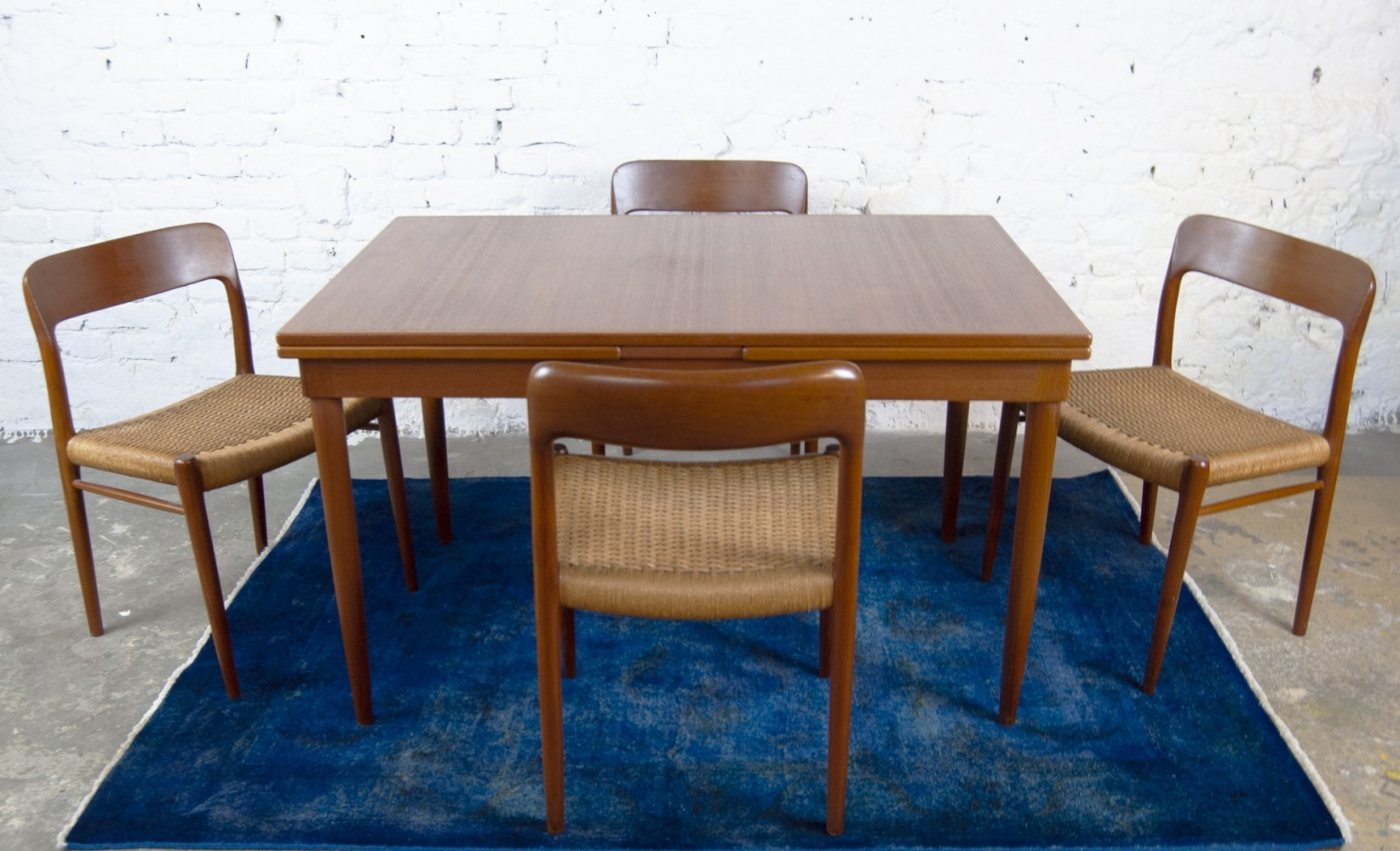 Model 75 Dining Set with extendable table by Niels O. Møller for J.L. Møllers, 1960s