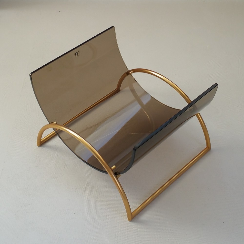 Brass & Glass Magazine Holder by Gallotti & Radice, 1980s