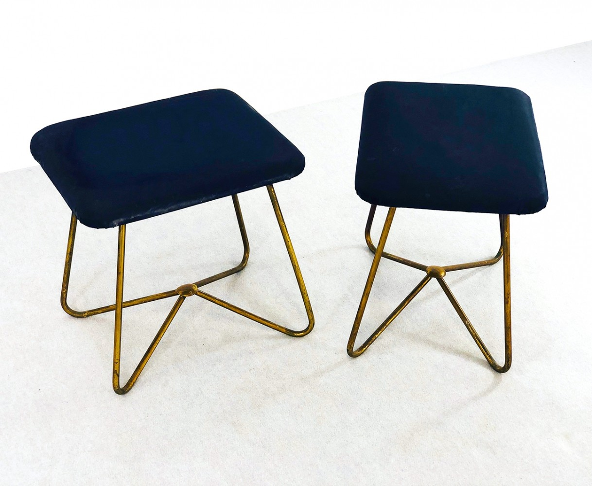 Pair of 50s stools in brass & blue colored leather